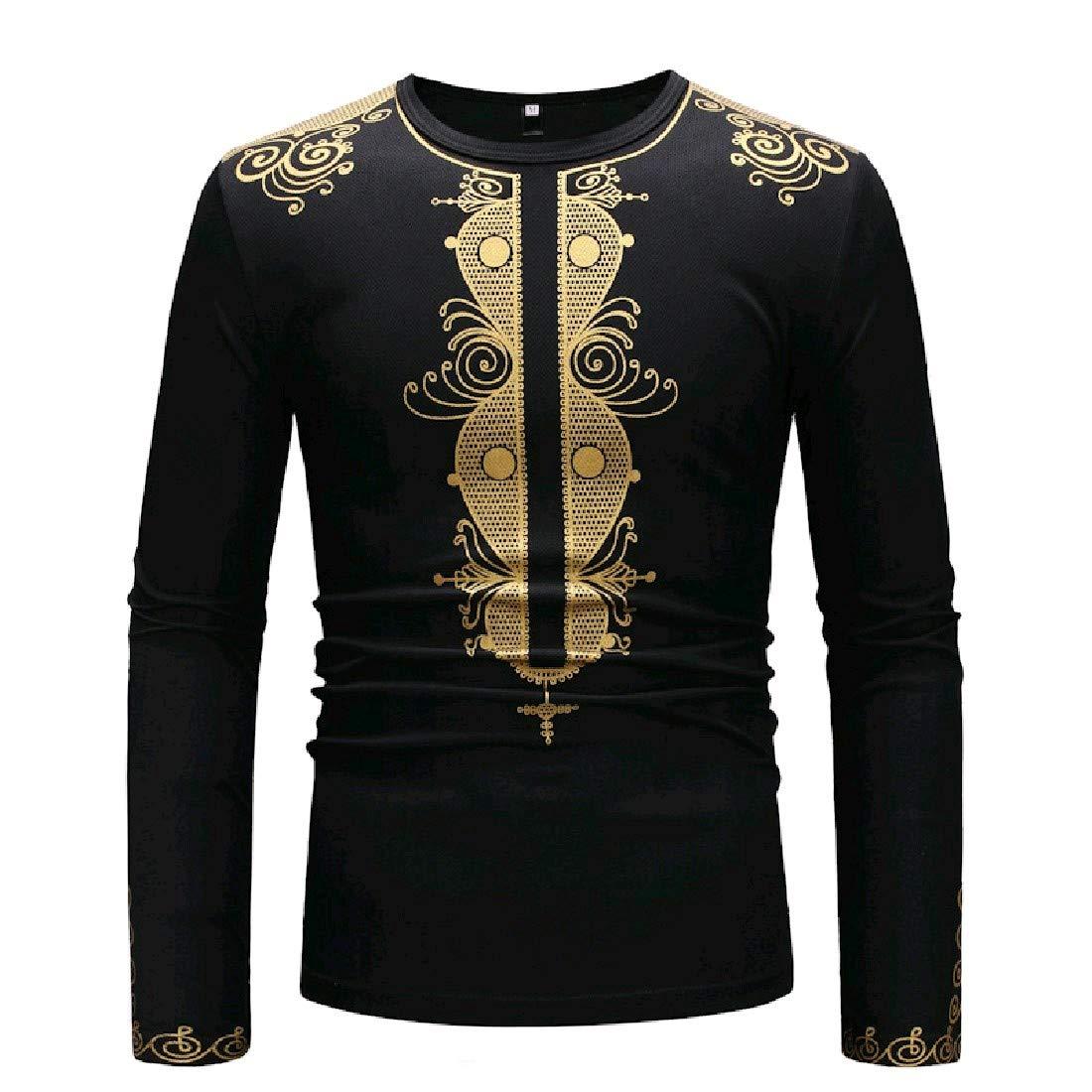 YUNY Mens African Dashiki Flower Printed Plus Size T-Shirt Top Black S