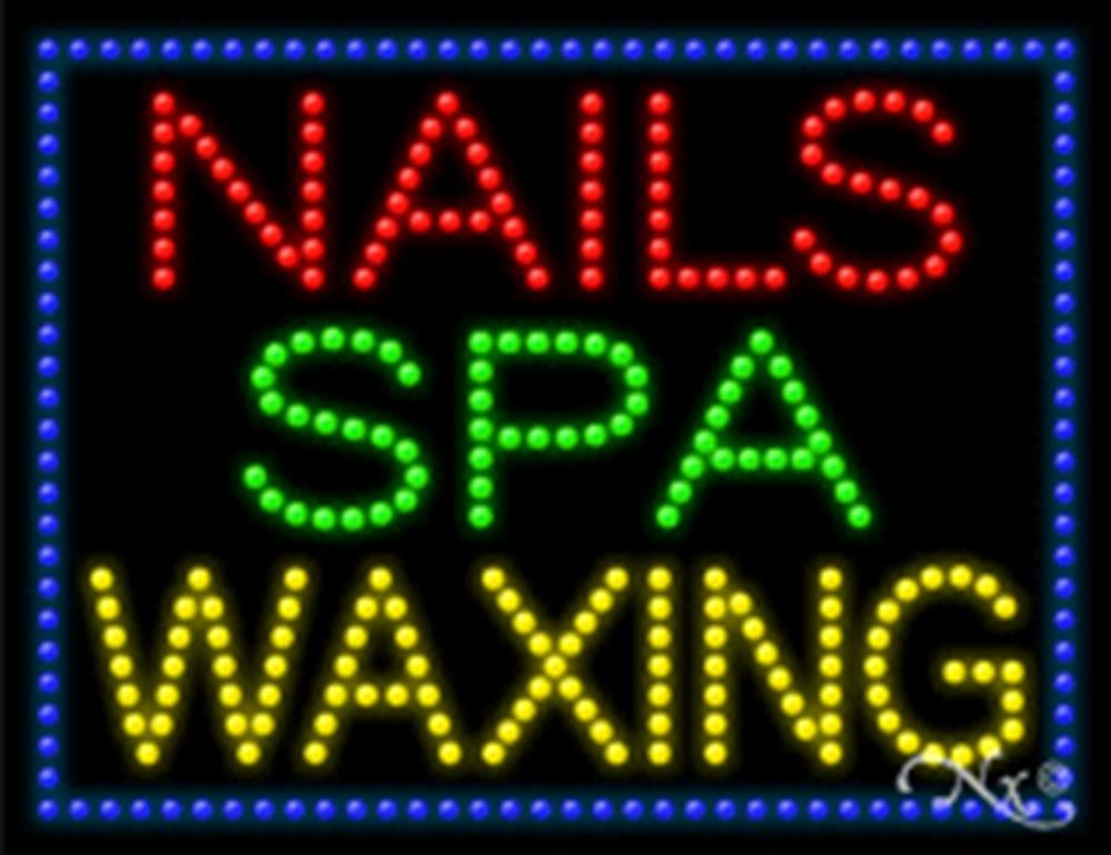 26x20x1 inches Nails Spa Waxing Animated Flashing LED Window Sign