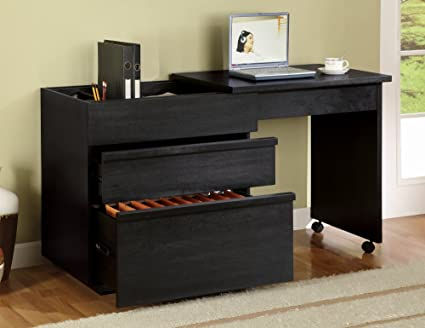Merveilleux Slide Out Desk With File Cabinet In Black Finish