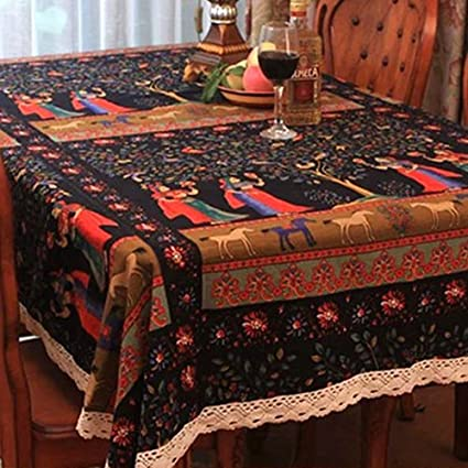 1de084f9a Buy Generic Linden Flower Printed Table Cloth Fashion Ethnic Table Cover  With Lace High Quality Banquet tafelkleed Dining Table Cloth Online at Low  Prices ...