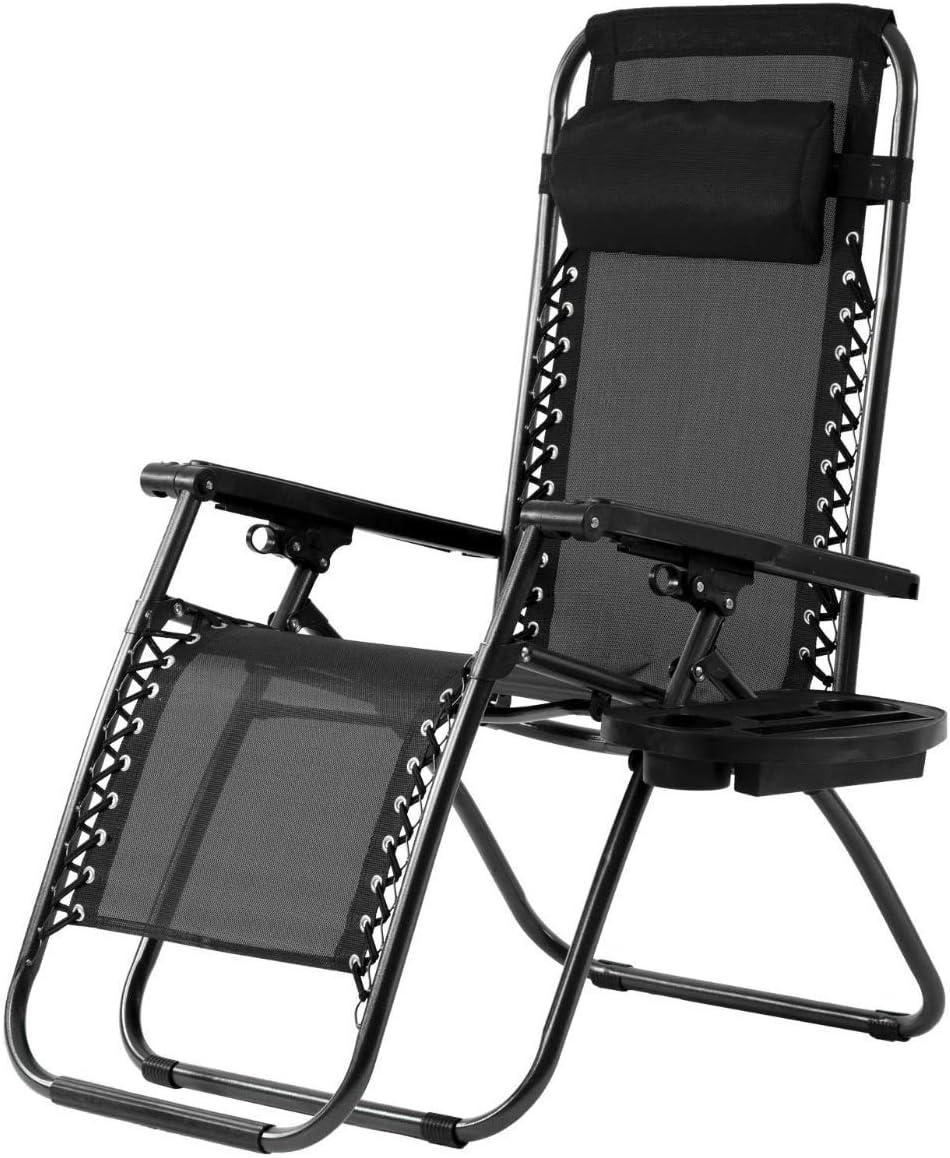 Zero Gravity Recliner Chair, Adjustable Anti Gravity Locking Chaise Recliner Support 330lbs, Heavy Duty Folding Zero Gravity Chair w Oversized Mesh Back, Wider Armrest, Headrest Cup Holder Black
