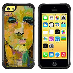 LASTONE PHONE CASE / Suave Silicona Caso Carcasa de Caucho Funda para Apple Iphone 5C / Face Painting Art Watercolor