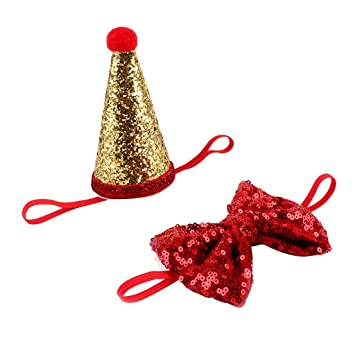 Baoblaze 1Pc Shiny Dog Cat 1 Year Old Birthday Hat With Bowknot Headband Pet