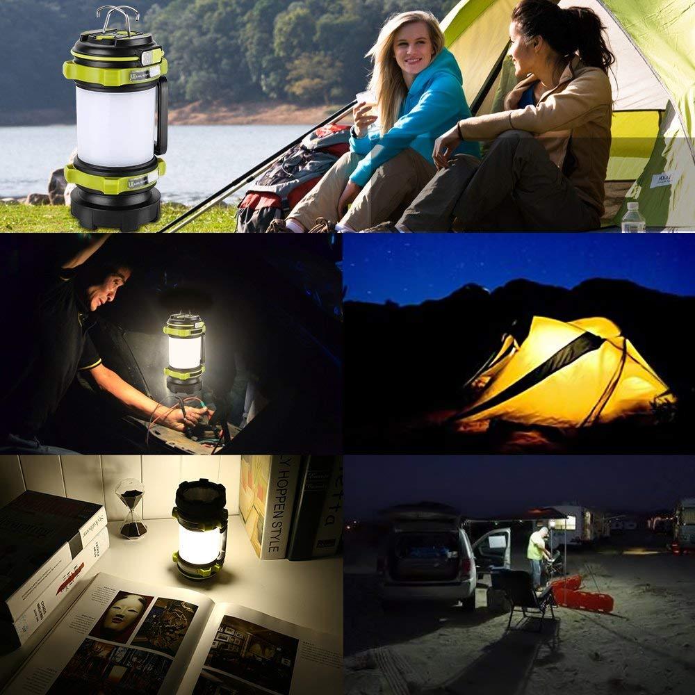 LE Lampe Camping LED Garage Randonnee Lanterne Camping Rechargeable 2600mAh Lampe Torche LED Puissante 6 Modes Secours Cable USB Inclus Cave etc. Etanche pour Bricolage