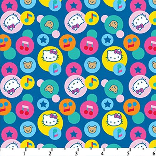 Hello Kitty Big Top Circles Blue HK-28 100% Cotton Fabric Quilt Prints 44/45