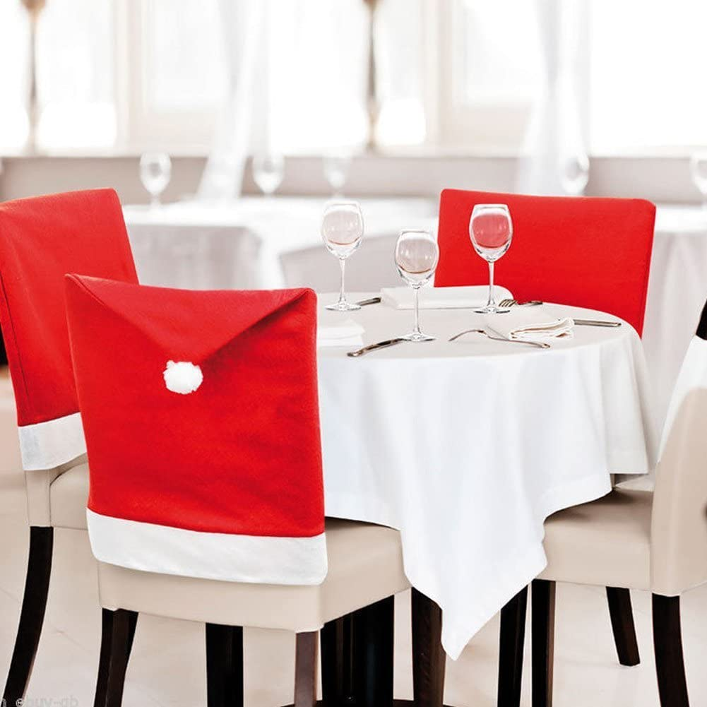 LOHOME 4-Pieces Christmas Chair Covers - Red Non-Woven Fabrics Santa Claus Hat Chair Back Covers for Xmas Decor: Kitchen & Dining