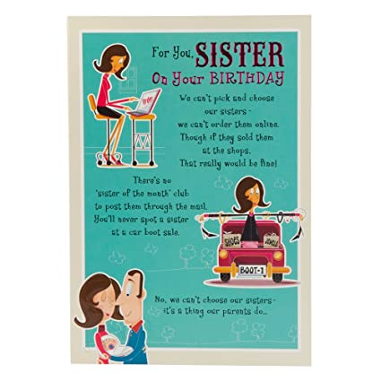 Amazon Sister Birthday Humour Birthday Card Office Products