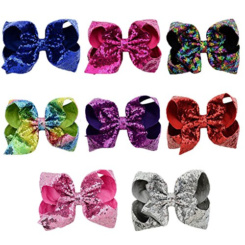YIYI 8 Big Little Girls Hair Bows with Clips Alligator Hairpin with Large Bling Glitter Bow for Teens Hair Accessories Pack of 8