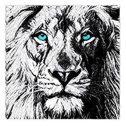 Startonight Canvas Wall Art Black and White Abstract Lion Draw Blue Eyes Animals Jungle, Dual View Surprise Artwork Modern Framed Ready to Hang Wall Art 100% Original Art Painting 31.50 X 31.50 inch
