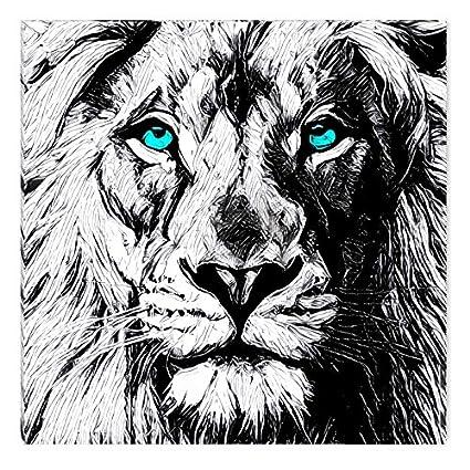amazon com inspirational art black and white lion draw canvas wall