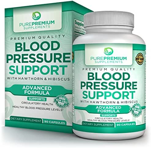 Premium Blood Pressure Support Supplement by PurePremium with Hawthorn & Hibiscus | Natural Anti-Hypertension for Cardiovascular & Circulatory Health | Vitamins & Herbs Promote Heart Health | 90 Caps