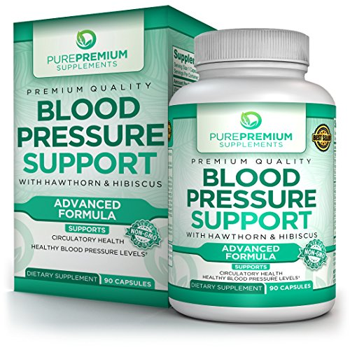 Premium Blood Pressure Support Supplement by PurePremium with Hawthorn & Hibiscus - Natural Anti-Hypertension for Cardiovascular & Circulatory Health - Vitamins & Herbs Promote Heart Health - 90 Caps (Best Herbs For Heart Health)