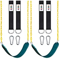 """ZNCMRR 2 Pack Swings Seats Heavy Duty with 66"""" Chain Plastic Coated, Playground Swing Set Accessories Replacement with Snap Hooks and Hanging Strap"""