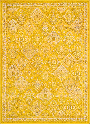 2 x 3 Bohemian Area Rug Overdyed Vintage Distressed Persian Panel Multi Yellow