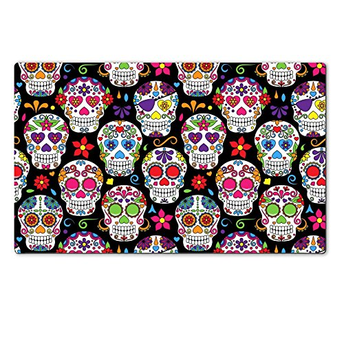 Images Of Day Of The Dead Costumes (Luxlady Natural Rubber Large Table Mat IMAGE ID: 36626879 Day of the Dead Sugar Skull Seamless Vector Background)