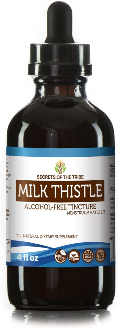 Milk Thistle Alcohol-Free Liquid Extract, Organic Milk Thistle Silybum marianum Dried Seed Tincture Supplement 4 FL OZ