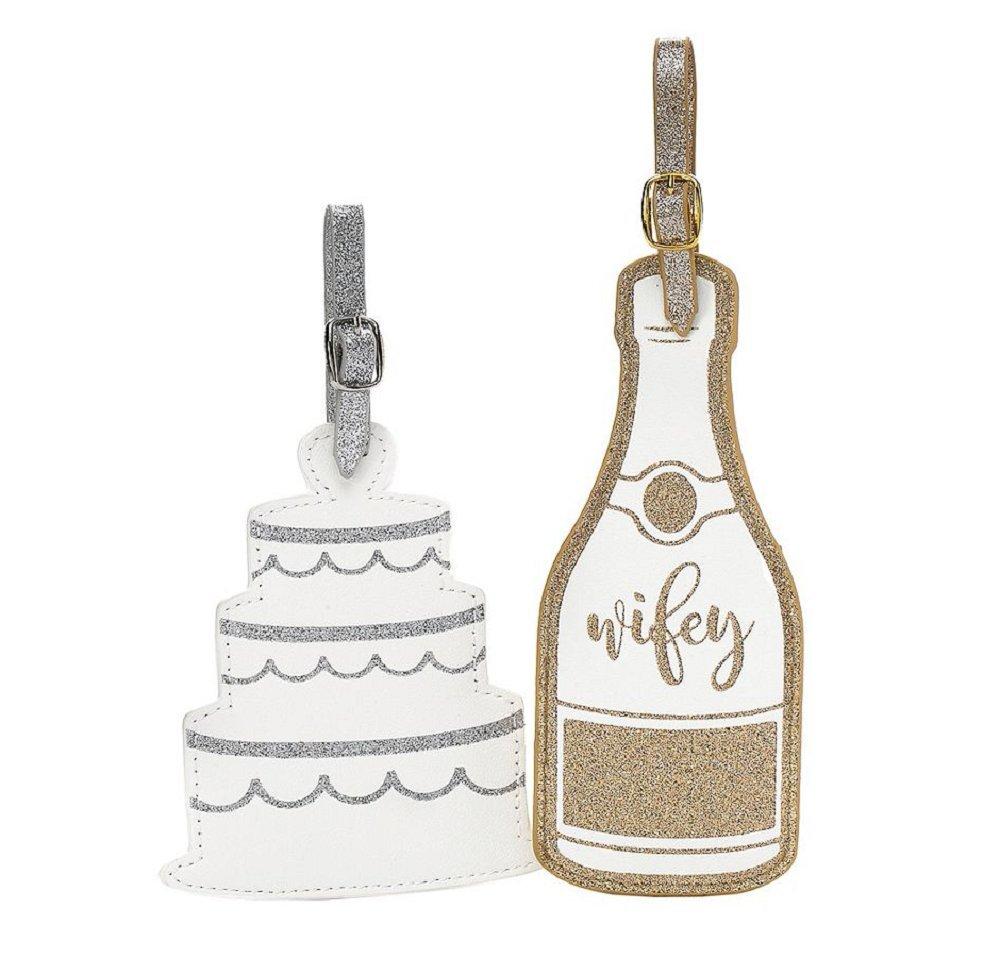 Wedding Cake and Champagne Glitter Large Luggage Tag Set