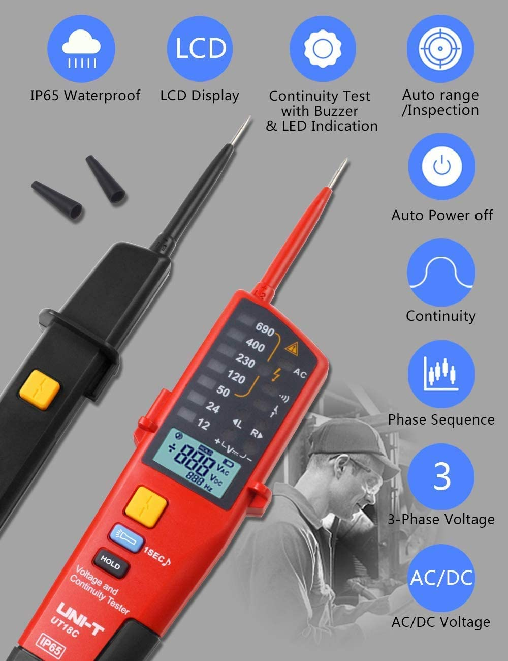 UT18C Voltage and Continuity Tester Multifunction Waterproof Digital Electrical Circuit Tester Voltage Meter Voltmeter 12V~690V AC//DC Automatic Range LCD Display Voltage Tester