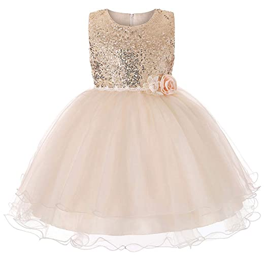 1e8a084660f Toddler Baby Girl Children Flower Sequins Lace Princess Wedding Pageant Birthday  Formal Christmas Dress Party Skirt