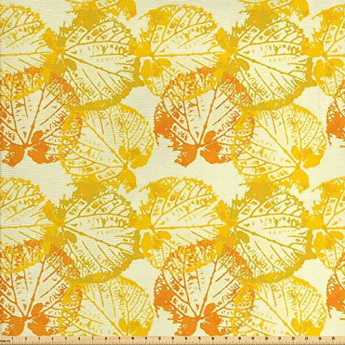 Lunarable Mustard Fabric by The Yard, Grunge Style Leaves Motif in Autumn Tones Shady Season in Faded Color, Decorative Fabric for Upholstery and Home Accents, Earth Yellow Marigold