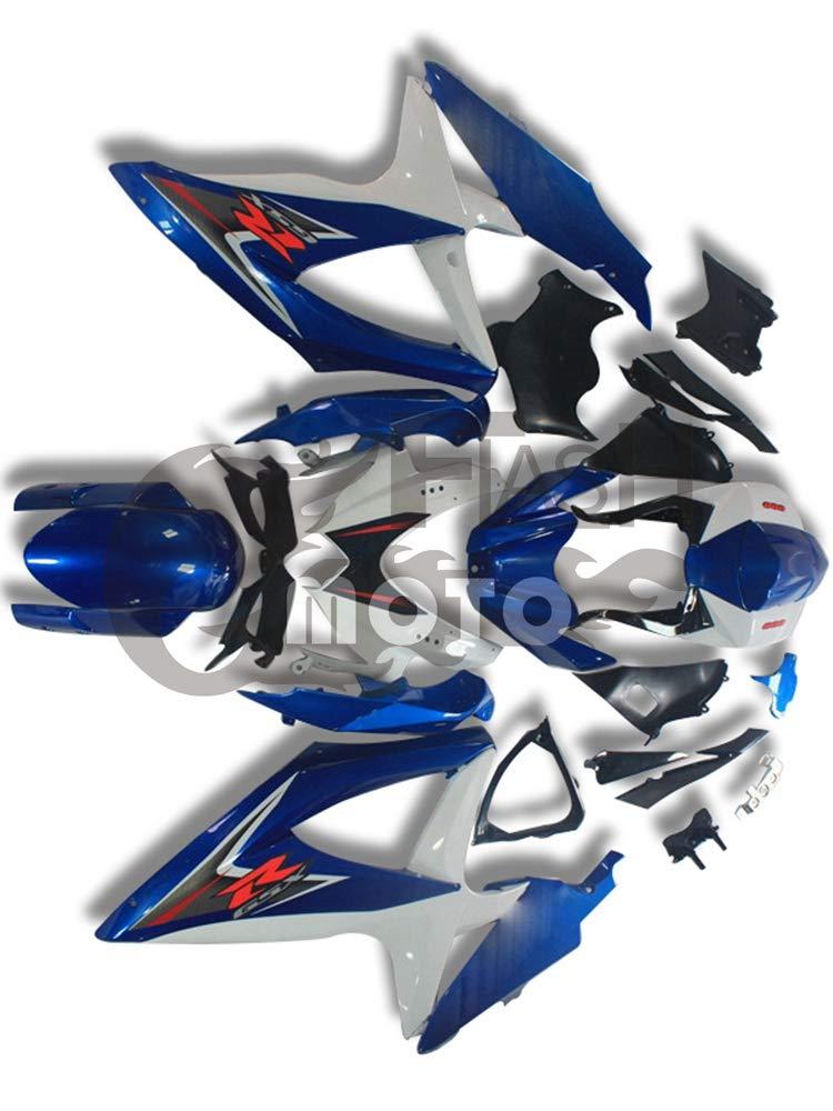 FlashMoto suzuki 鈴木 スズキ GSX-R600 GSX-R750 K8 2008 2009 2010用フェアリング 塗装済 オートバイ用射出成型ABS樹脂ボディワークのフェアリングキットセット (ブルー,ホワイト)   B07M9KRC4S