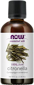 NOW Essential Oils, Citronella Oil, Freshening Aromatherapy Scent, Steam Distilled, 100% Pure, Vegan, Child Resistant Cap, 4-Ounce