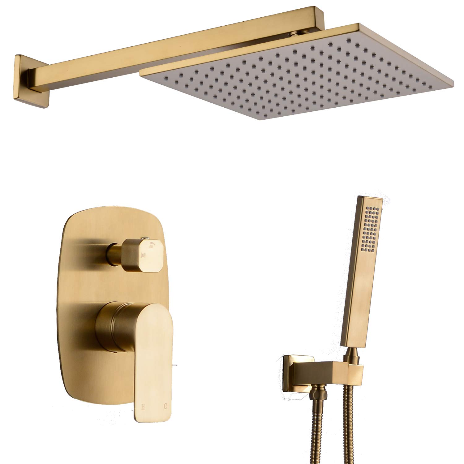 TRUSTMI Shower Faucet 12 inch Bathroom Luxury Rain Mixer Combo Set Wall Mounted Rainfall Shower Head System Brushed Gold, Contain Faucet Rough-in Valve Body and Trim