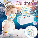 Islandse 40 PCS Kids Face Bandanas, Disposable Face 𝐌𝐀𝐒𝐊, Industrial3PlyEarLoop, Breathable, face Shield for Outdoor/Daily use,Customized Ocean Printing Series-Shark/Jellyfish/Fish