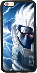 Kakashi Hatake Attack Naruto Japanese Anime Case for iPhone 6 Plus/6S Plus (5.5 Inch) TPU Silicone Rubber Gel Edge + PC Bumper Case Skin Protective Printed Phone Full Protection Cover