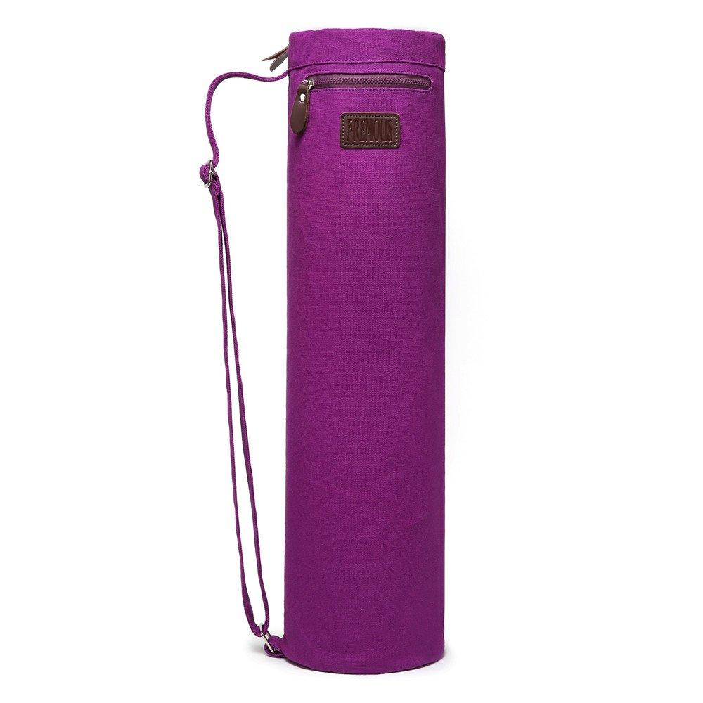 Fremous Yoga Mat Bag and Carriers for Women and Men - Bolsillos de Almacenamiento Multifunción Portátiles de Lona Yoga Bolsas, Morado