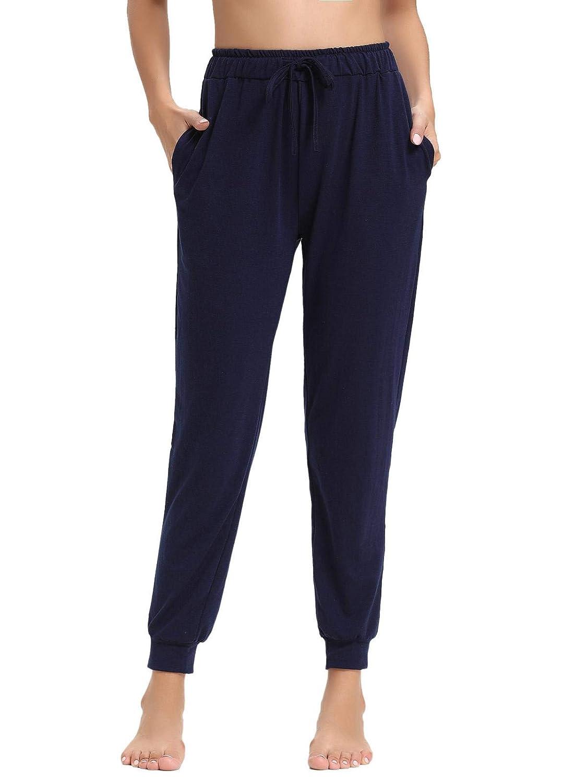 Navybluee2 Abollria Women's Cotton Pajama Pants Stretch Lounge Pants with Pockets Jogger Pants