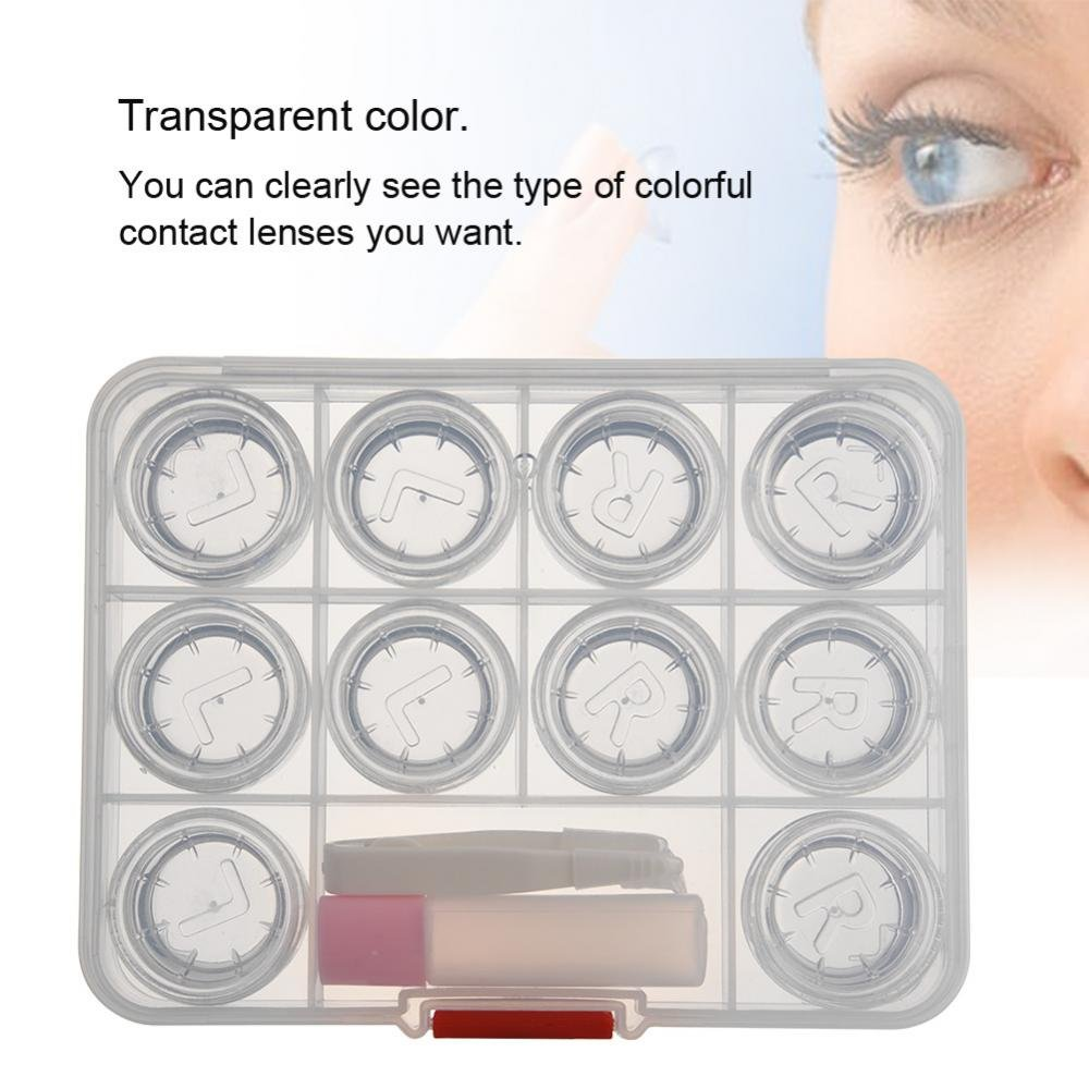 Kontaktlinsenbeh/älter 5 Paar Transparente Linsen Halter Aufbewahrungsbox Bunte Display Reisekoffer Set