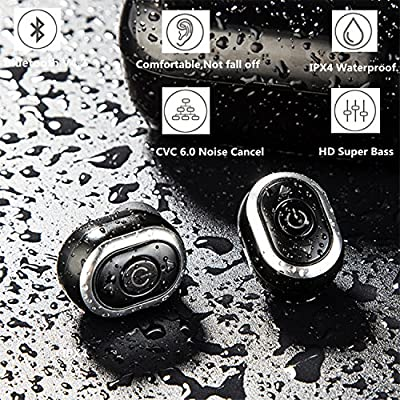 ROF True Wireless Earbuds,Premium Music Stereo Independent Vol Track Button Control,Super Comfort Bluetooth Headphone with Mini Charging Case Noise Cancel Mic,Not Fall Off Great for Biz Learn Gdy