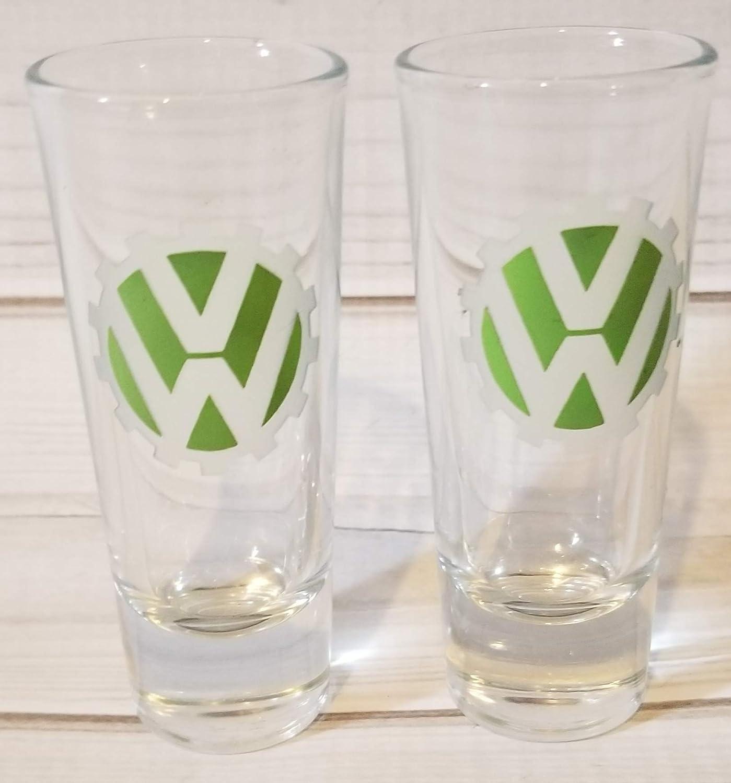 SET of 2 VW Volkswagen GREEN Shooter Shot Etched Glasses Bar Glasses Party Gift 1.5 oz
