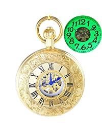OGLE Waterproof Golden Roman Chain Large Digital Noctilucence Bronze Fob Self Winding Automatic Skeleton Mechanical Pocket Watch