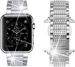Dassions Band for Apple Watch Diamond Band, Rhinestone Luxury Diamond Stainless Steel Replacement Bands for Apple Watch 42mm 44mm Series 6 5 4 3 2 1 SE Edition (Silver, 42/44mm)