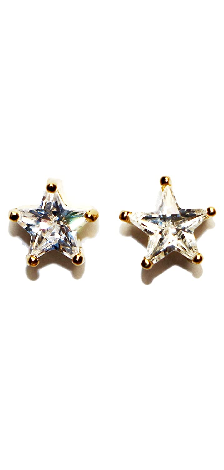 Hypoallergenic Surgical Steel Gold Color Star Cz Earrings for Girls Jewels Fashion E8005GD