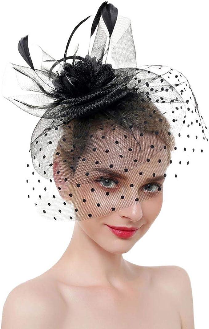 Ladies Accessories Stylish Girls Beautiful Feather /& Flower Mesh Fascinators