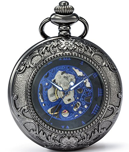SEWOR Vintage Magnifier Skeleton Pocket Watch Mechanical hand wind (Blue - Jewels 15 Watch Pocket