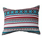 """Rod's Montana Southwestern Horse Pillow Sham Turquoise, Aztec Pattern with White, red, and Natural Colors Opposite Side has a Natural and White Diamond Pattern. Tie Back. Measures 26"""" L x 20"""" H."""