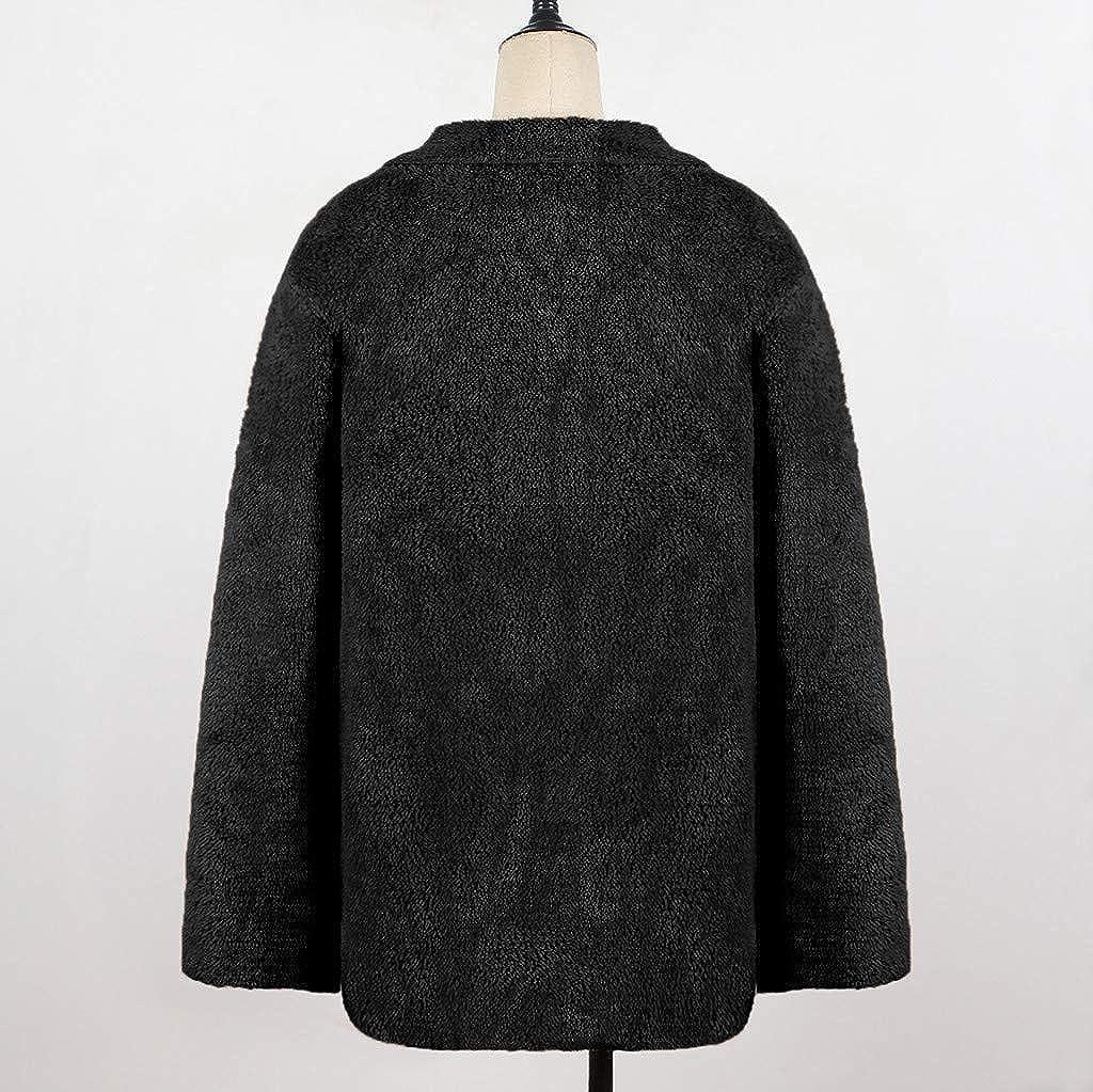 VESNIBA Womens Coat Sale Womens Long Sleeve Solid Fuzzy Fleece Open Front Hooded Cardigans Jacket Coats Outwear with Pocket