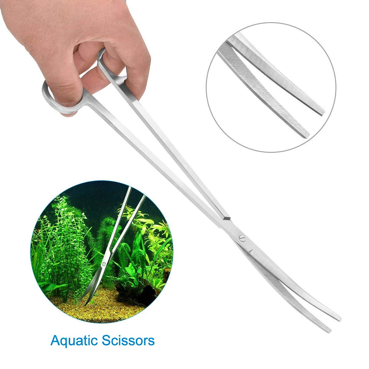 Fodlon Attrezzi per Acquario in Acciaio Inox Kit 5 in 1 Pulitore per acquari per Pesci Strumenti Aquascape Impianto Acquatico Pinze per acquascaping Forbici Pinze Set Raschietto alghe