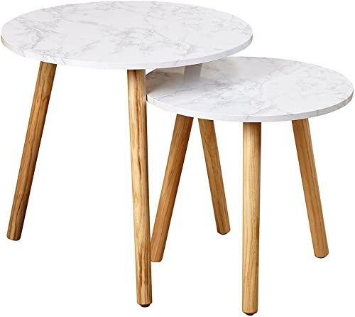 Simplistic End Table Set of 2 Nordic Scandinavian Style Coffee Table Mid Century Contemporary Simple Modern Nesting Tables for Living Room Faux Marble Minimal Durable Furniture and eBook by NAKSHOP