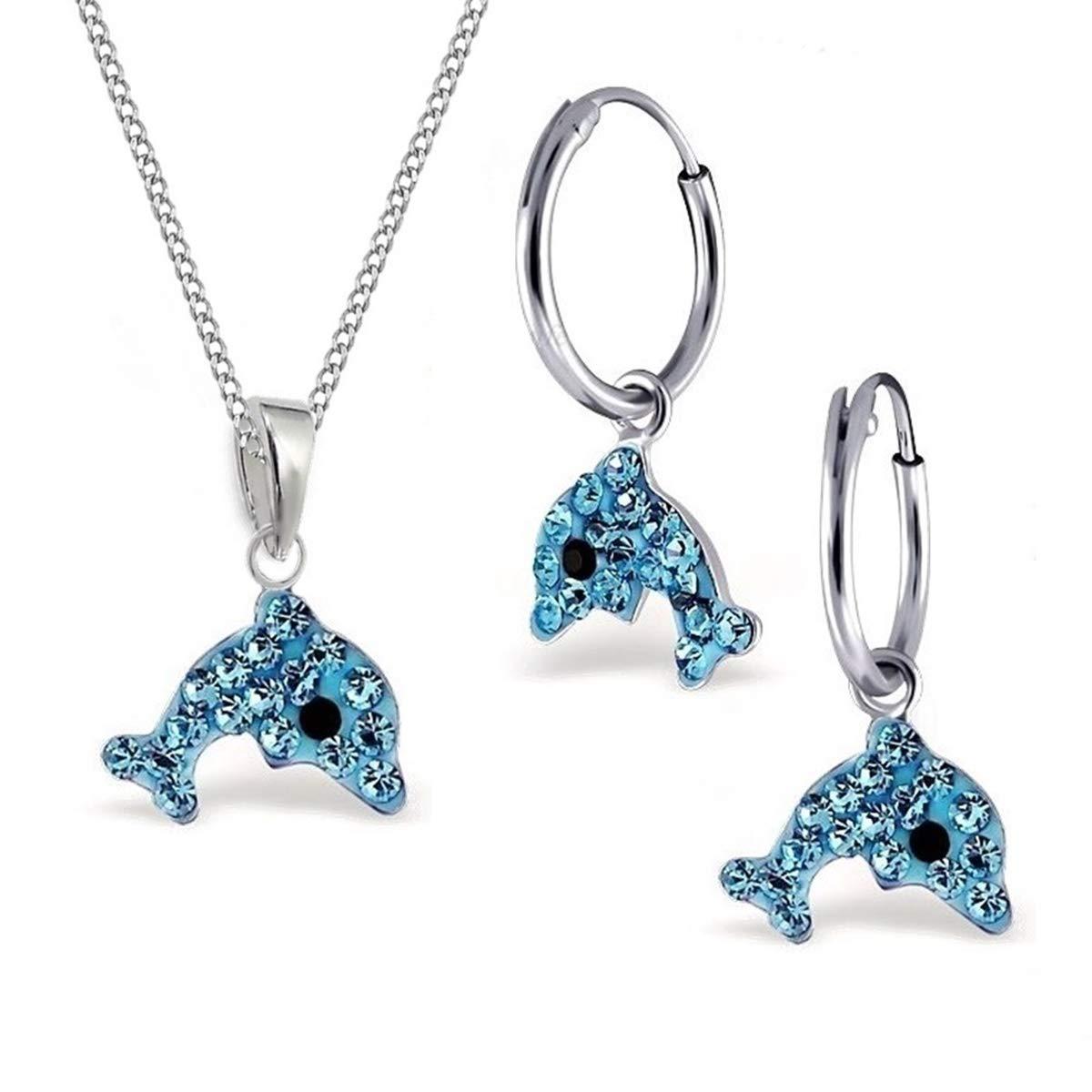 Blau Kristall Delfin Set Anhänger + Kette + Creolen 925 Sterling Silber Kinder Mädchen Delphin Ohrringe GH-1a S-0LJ9BL