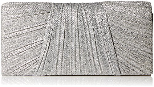 Jessica McClintock Ingrid Glitter Pleated Evening Clutch, silver