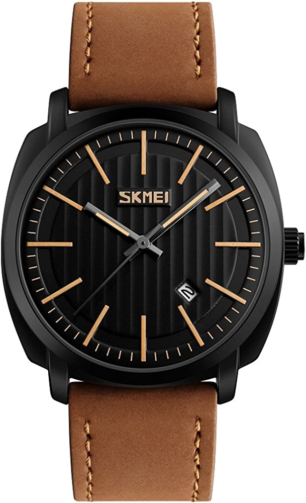 Men s Quartz Watches Classic Casual Brown Leather Strap Wrist Watch Date Display