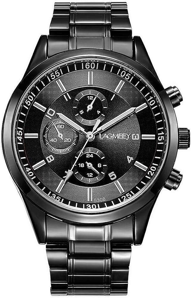 Relojes Hombre Cronógrafo Decorativo Sencillo con Correa de Acero Inoxidable Negro: Amazon.es: Relojes