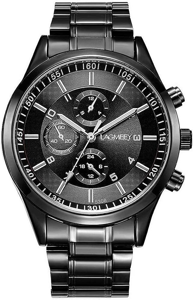 Relojes Pulsera Decorativos Cronógrafo Números Arábigos Cuarzo Relojes Hombre Acero Inoxidable Clásico