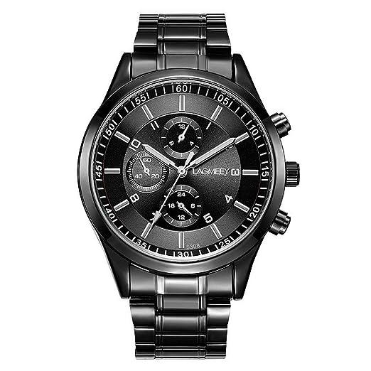 Relojes Hombre Escala del Clavo con Cronógrafo Decorativo, Correa de Acero Inoxidable Negro Relojes de Pulsera Casual, Dial Negro: Amazon.es: Relojes