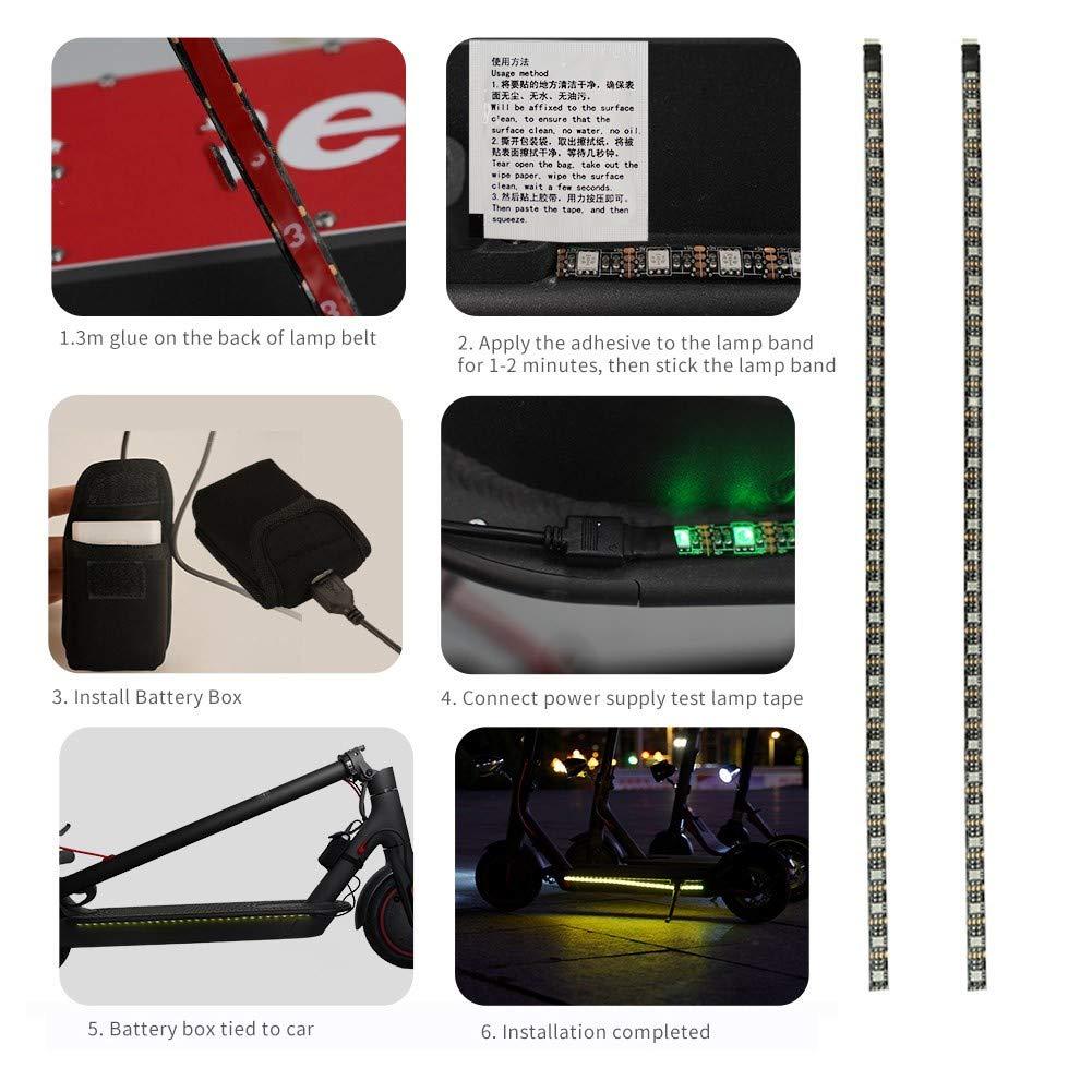 Gyratedream Lampe de Barre de Lampe-Torche de Bande de LED pour pour la lumi/ère de Nuit de Planche /à roulettes de Scooter /électrique de Xiaomi M365
